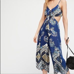 Free People Pants - Free People Printed Cutout Jumpsuit Size Large NWT